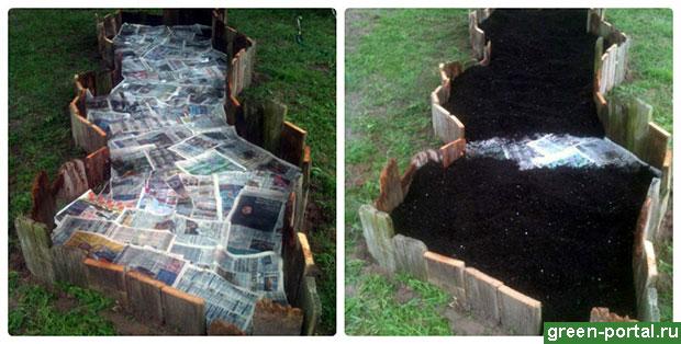 Смочите газеты водой и засыпьте их почвой